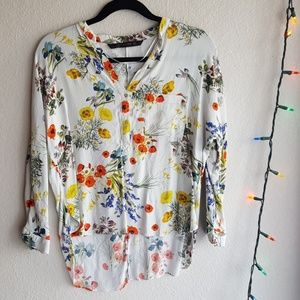 Bright Floral High Low Cropped Zara Blouse
